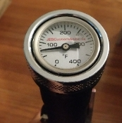 "18-P Softail  ""Wht Face OIL Filled"" Temp Gauge1.4OD"